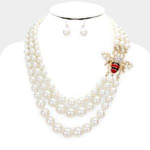 Jewelry - Honey Bee Accented Pearl Triple Strand Necklace